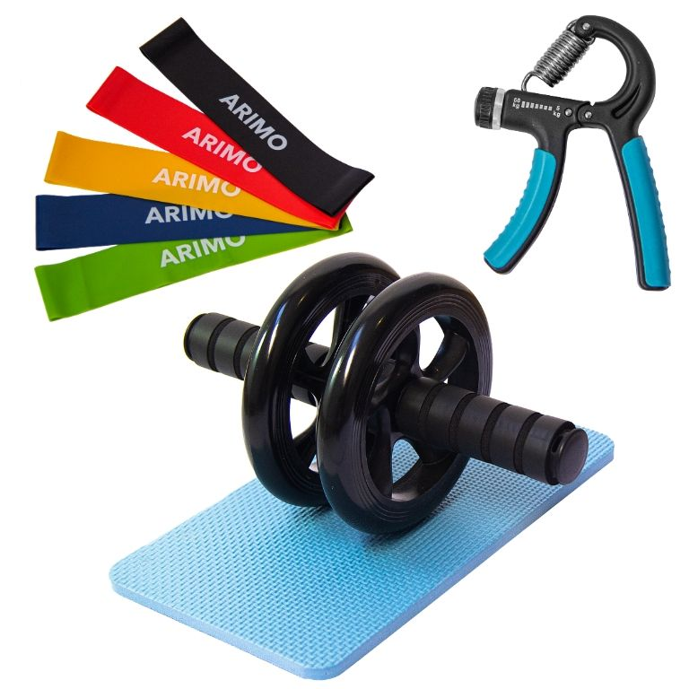 Kit Action Arimo - 5 Loop Bands + Roda para Abdominal + Grip de mãos Arimo