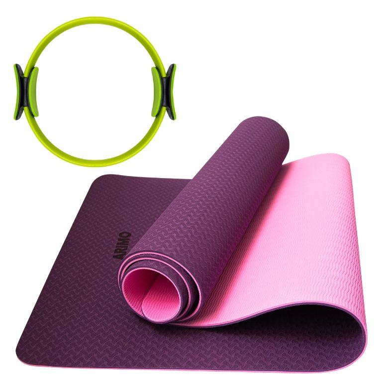 Kit Pilates Arimo - Tapete de Yoga TPE Roxo + Anel de Pilates Arimo