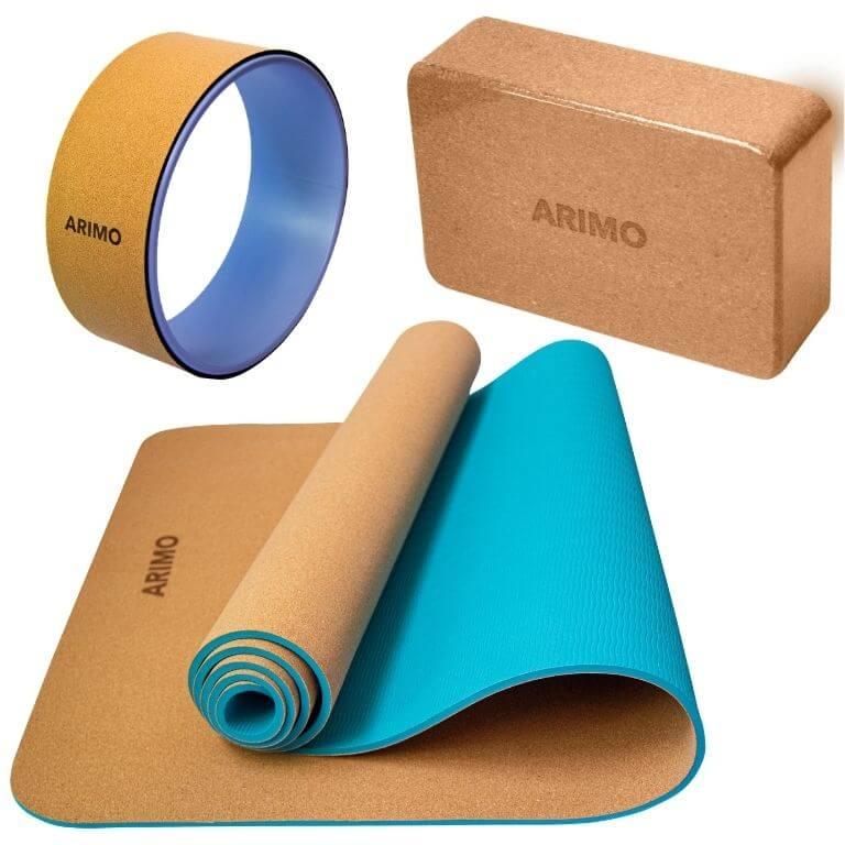 Kit Yoga Arimo - Tapete de Yoga Cortiça e TPE + Bloco de Cortiça + Roda de Yoga