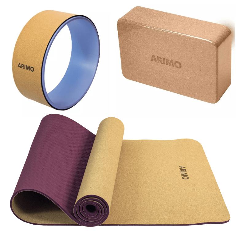 Kit Yoga Arimo Cortiça - Tapete de Yoga Cortiça e TPE + Bloco de Cortiça + Roda de Yoga